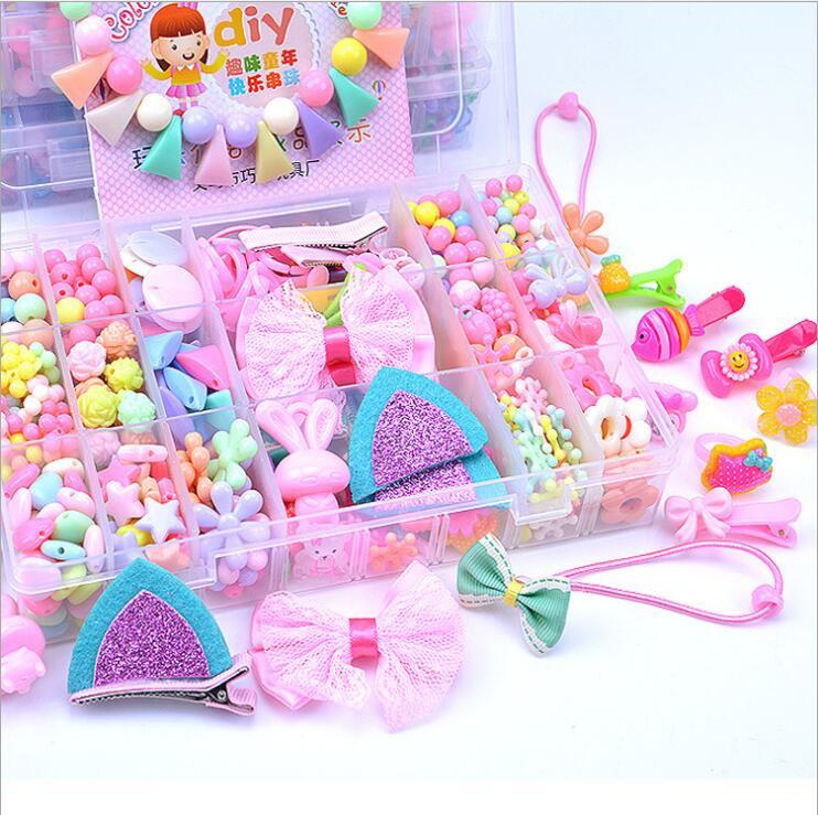 Girls DIY Beads Kit Educational Toys Colorful Jewellery Hair Accessories Making Kits Puzzle Toy Exercise Kids Creativity Gift