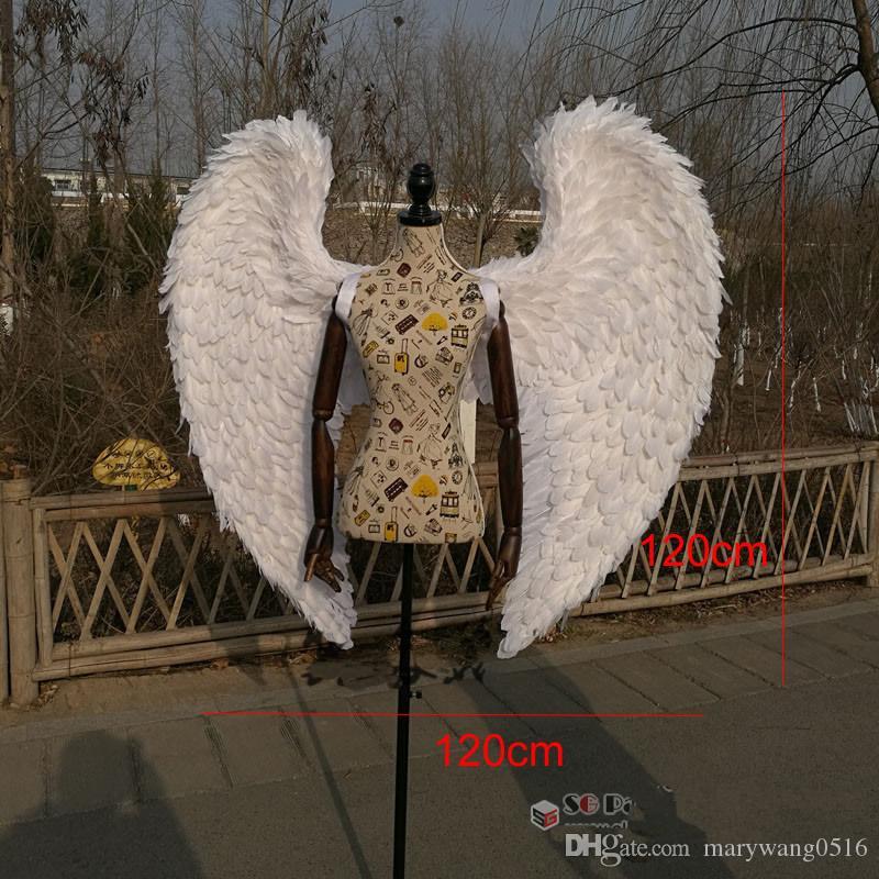 tiro bar anjo asas branco casamento Decoração fotografia de alta qualidade do adulto traje de Cosplay adereços transporte livre EMS artesanais Pure