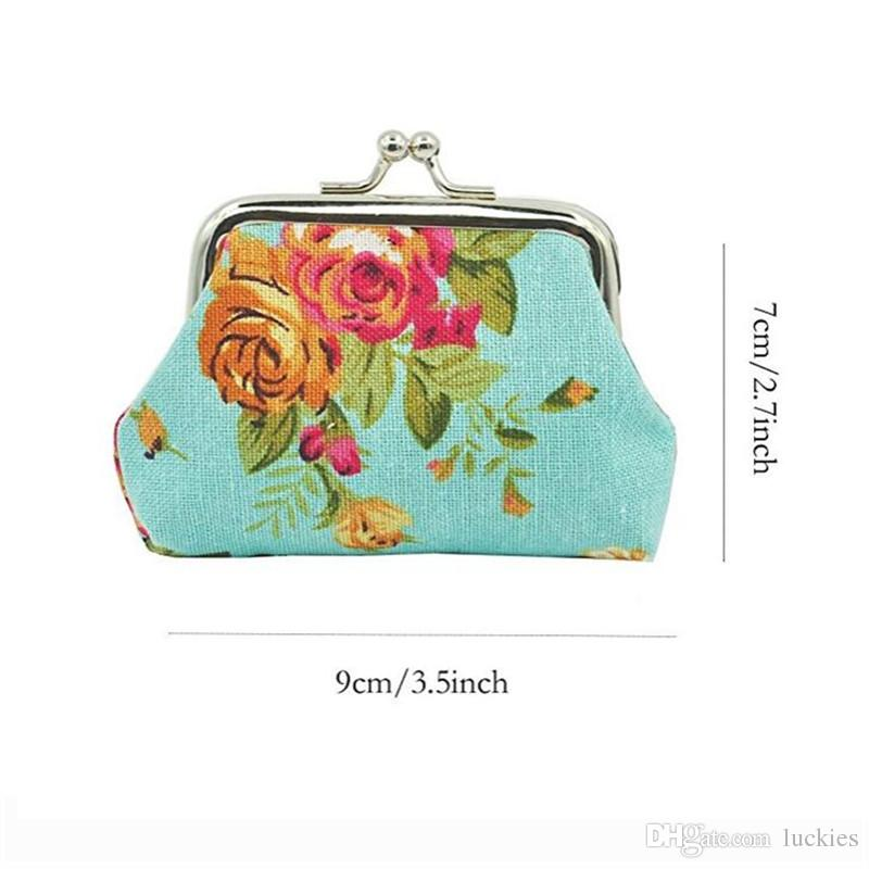 Women Coin Purse Cute Wallet Lady Retro Vintage Flower Canvas Small Wallet Hasp Purse Kawaii Bag Clutch Bag Christmas Party Small Gift