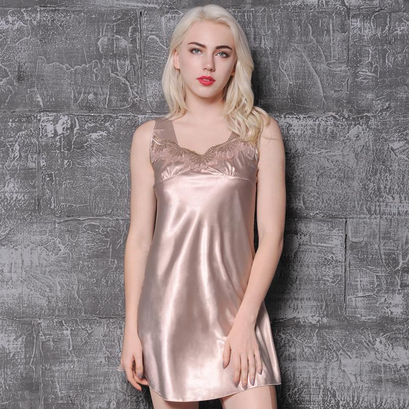 2019 Plus Size Women Nightgowns Elegant Summer Ladies Sleepwear Dress  Princess Nightdress Female Silk Nightshirts Homewear From Regine 531f4d579