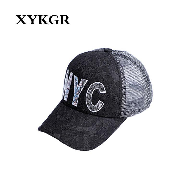 ff45a72b6eb XYKGR Summer Ladies Sun Hat Mesh Hat Embroidery Letter Breathable ...