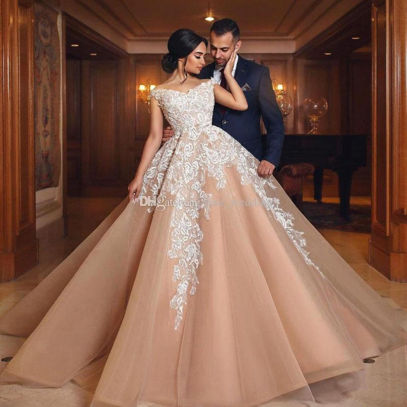 Blush Pink Ball Gown Wedding Dresses Off The Shoulder Appliques Lace