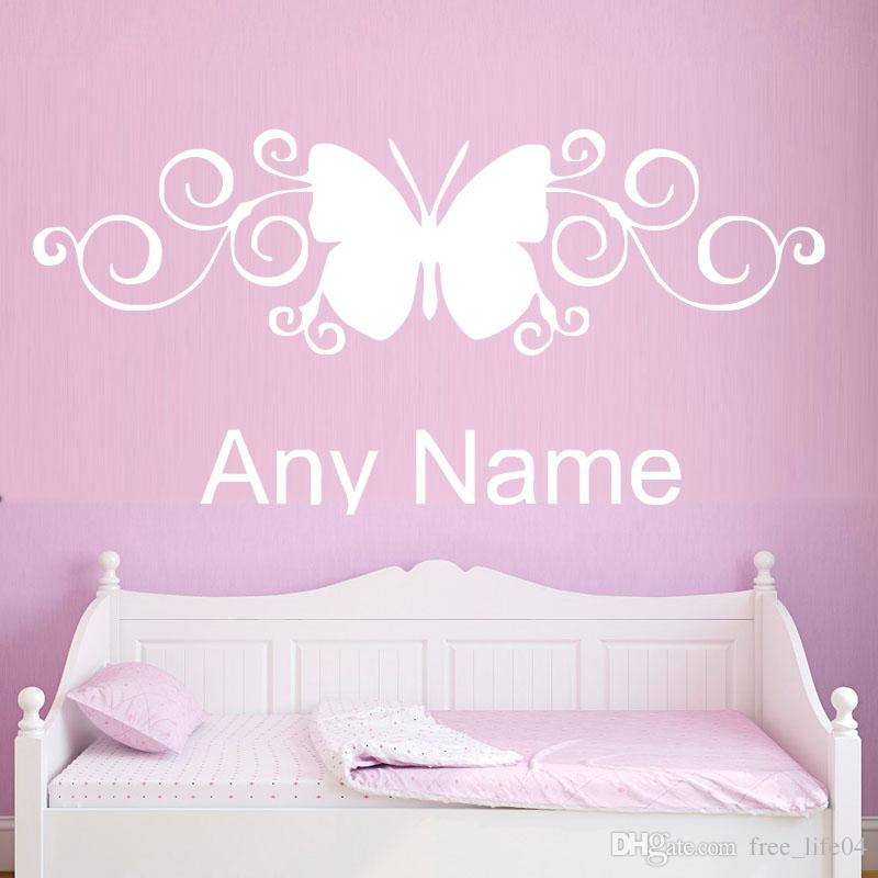Classic Butterfly Pattern Custom Name Wall Sticker Kids Personalized ...