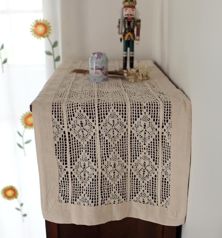 american pastoral crochet out table runner cabinet retro vintage