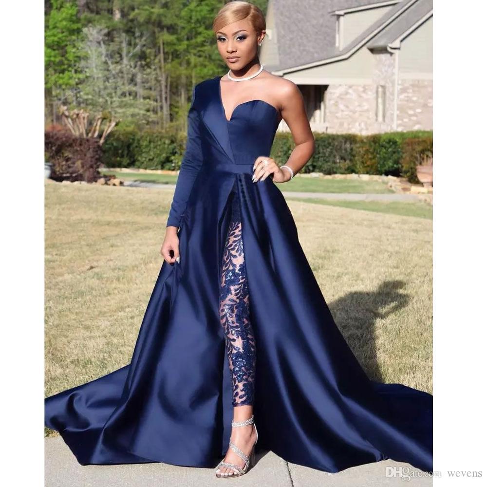 2019 Modest bleu combinaisons deux pièces robes de soirée une épaule avant côté fente tailleur-pantalon robes de célébrité robe de soirée sur mesure