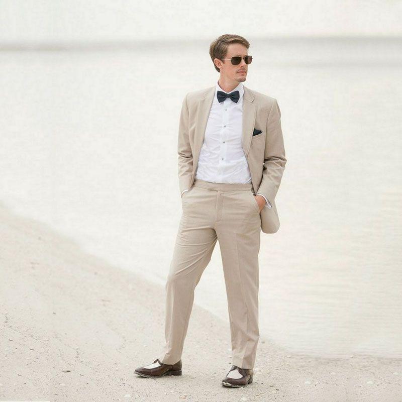 183898c4992 Khaki Linen Beach Wedding Suits For Men Blazers Jacket Pants Slim Fit  Groomsmen Wear Casual Prom Party Terno Masculino Groom Black Tuxedo For  Wedding Black ...