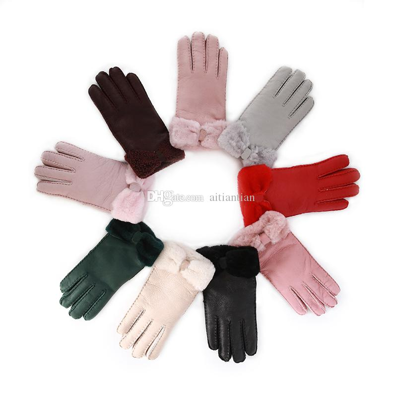 Toptan Satış - Sıcak kış bayan deri eldiven gerçek yün eldiven kadın% 100 kalite güvencesi