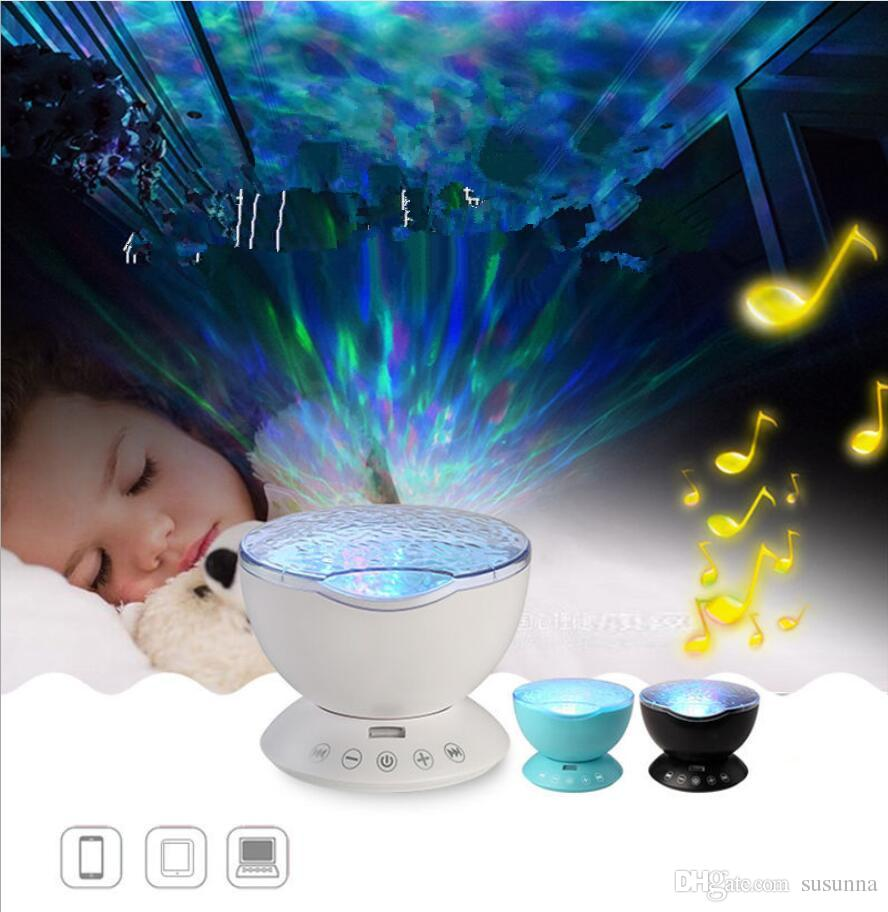 LED Night Light Soothing Ocean Wave Music Projector Wave Ceiling Lamp with Speaker and Remote control for Nursery Room