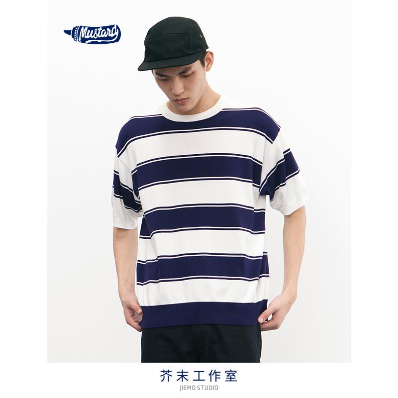 2019 Inflation Oversized O Neck Short Sleeve Sweater Stripe Thin