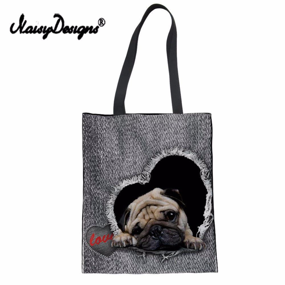 Noisydesigns Cute Pug Print Women Canvas Shopping Bag Denim Jeans