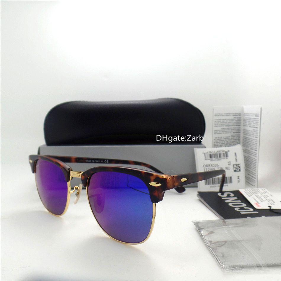 Top Quality Glass Lens Luxury Man Woman Sunglasses UV400 Plank Frame Hinge Circle 51MM classic Unisex Trend Vintage Eyeglass With Box Case