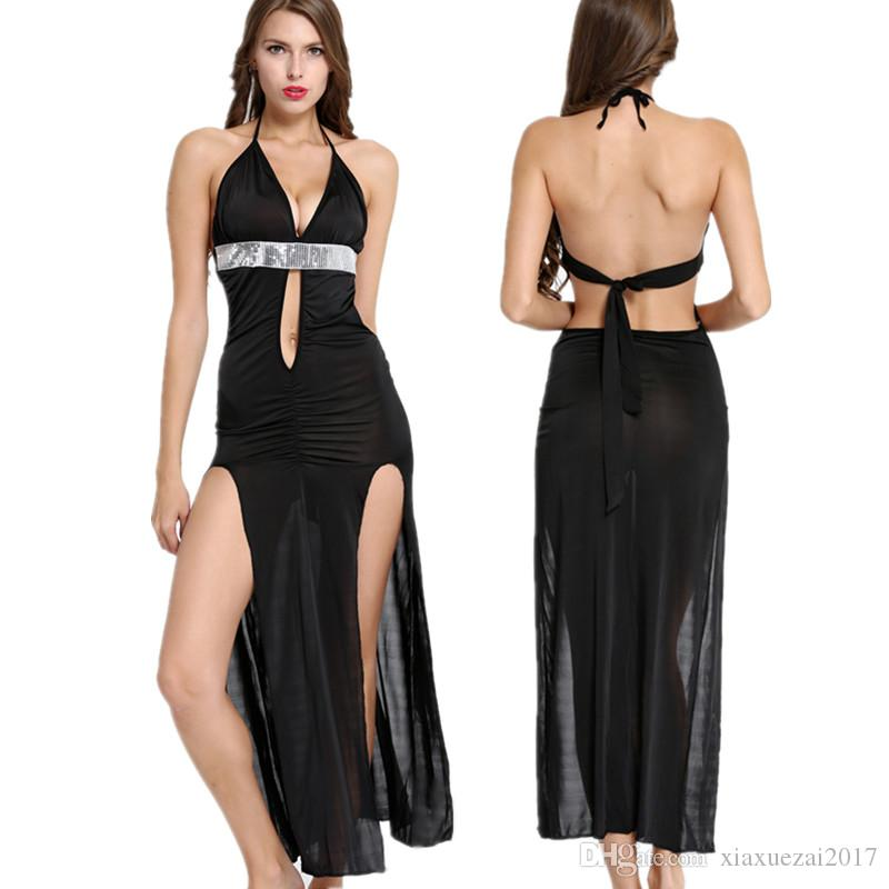 bbe52d0326d393 Schwarz Maxi Kleid Sexy Nachtwäsche Partykleid Nachthemd Nachthemd Lange  Nachtkleid Spandex Nachtwäsche Pailletten Design V-Ausschnitt Split Clubwear