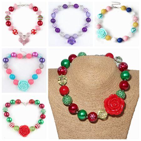 Halloween Christmas Gifts Childrens Jewelry Pendants Chunky Necklace For Kids Girls Bubblegum Beads Jewellery Baby Pearl Acrylic Chain Neck Personalized