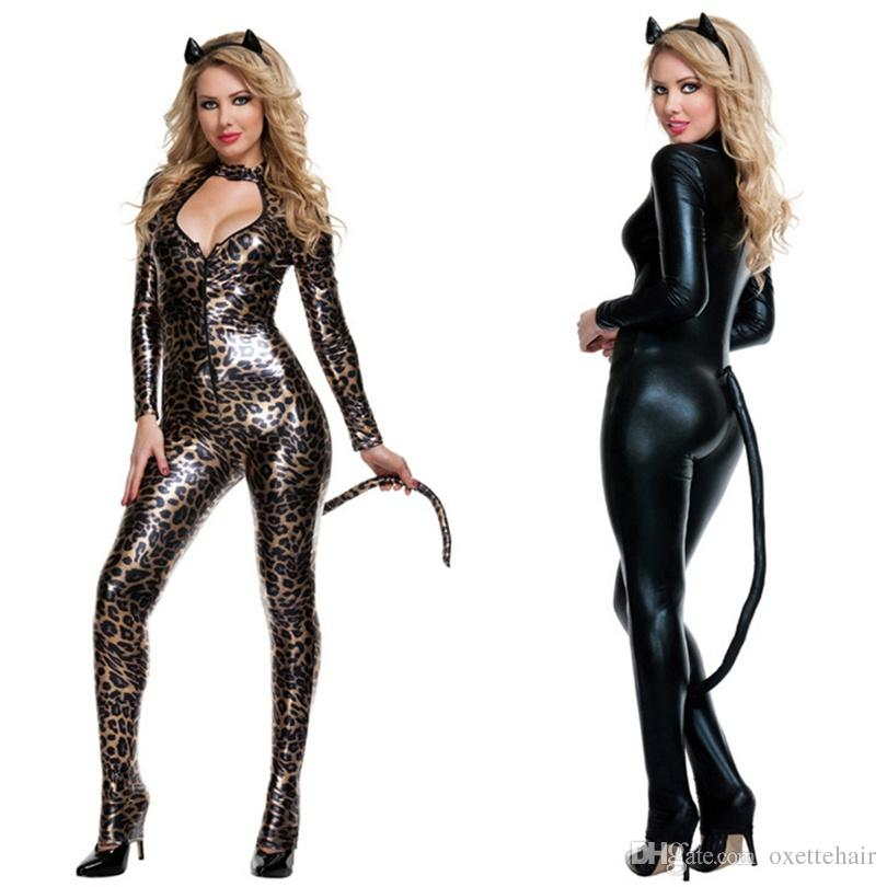 5f2d2f4cbc8d Black Leopard Sexy Catwoman Costume Low Cut Out Leather PVC Bodysuit  Fantasia Cat Tail Ears Halloween Cosplay Fetish Clubwear Sexy Underwear  Sets Bra And ...