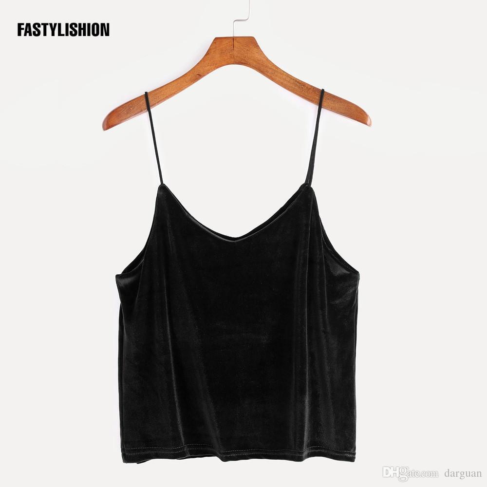 c48b4eefdfe126 2019 V Neck Velvet Tank Tops Women Black Sleeveless Vintage Fitness Casual  Tank Tops Bandage Backless Black Grey DT07 From Darguan