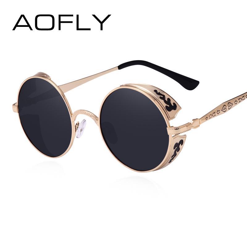ce260b95674 AOFLY Steampunk Vintage Sunglass Fashion Round Sunglasses Women Brand  Designer Metal Carving Sun Glasses Men Oculos De Sol S1635 Steampunk  Vintage Fashion ...