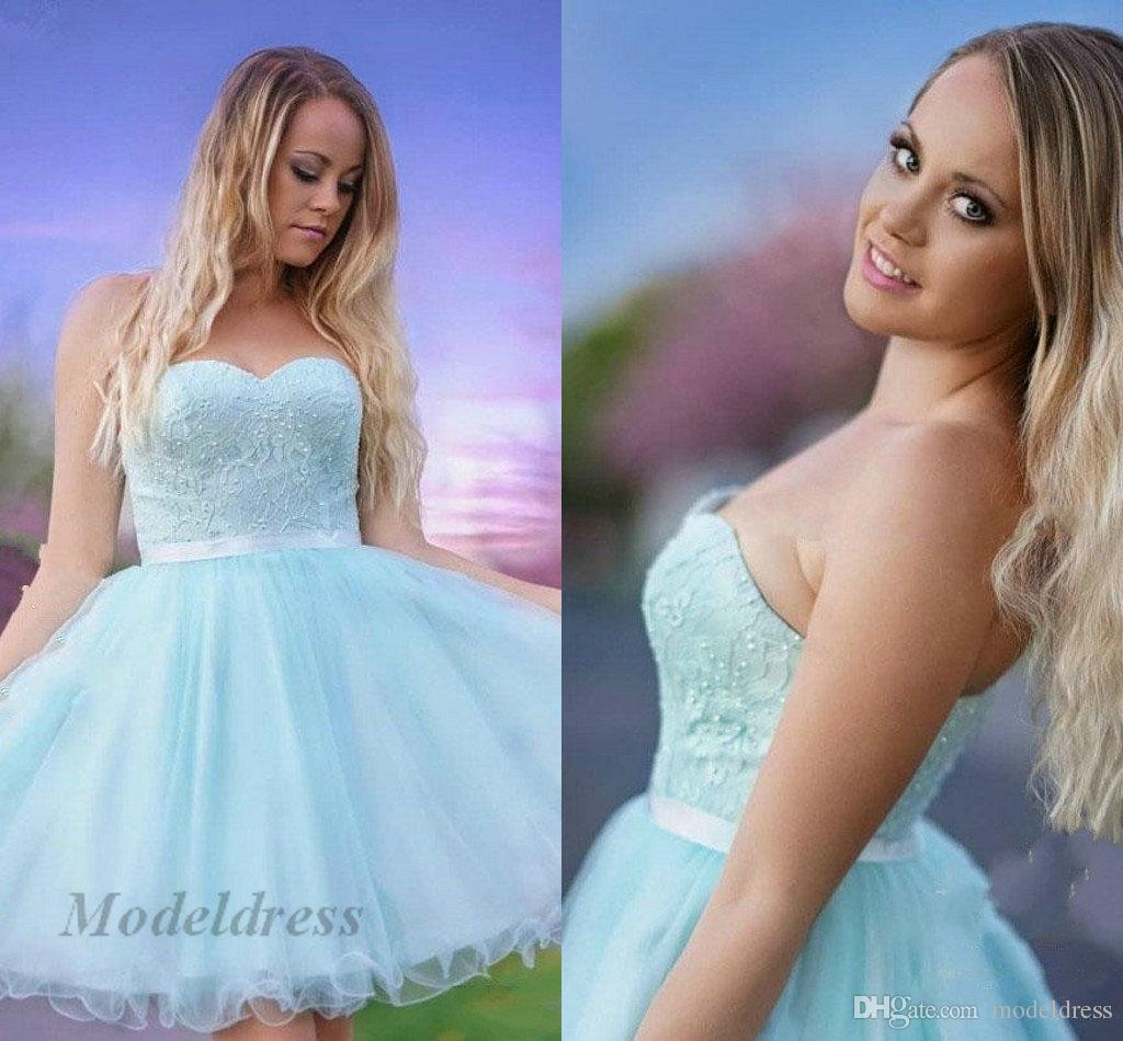 5f9e47cf6 Light Blue Homecoming Dresses Strapless Lace Beads A Line Tulle Organza  Elegant Stunning Girls Graduation Short Prom Party Dresses Occasion Dress  Sale ...