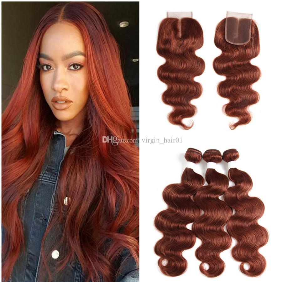 2018 Copper Red Hair Bundles 33 Auburn Hair Bundles With Lace