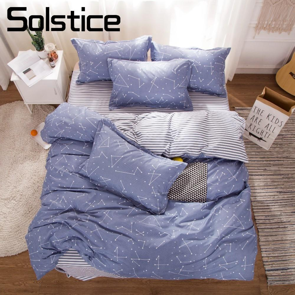 Solstice Home Textile Constellation Galaxy Bed Linen 3/4Pcs Duvet Cover Pillowcase Sheet Boy Girl Kid Teens Bedding Sets Stripe