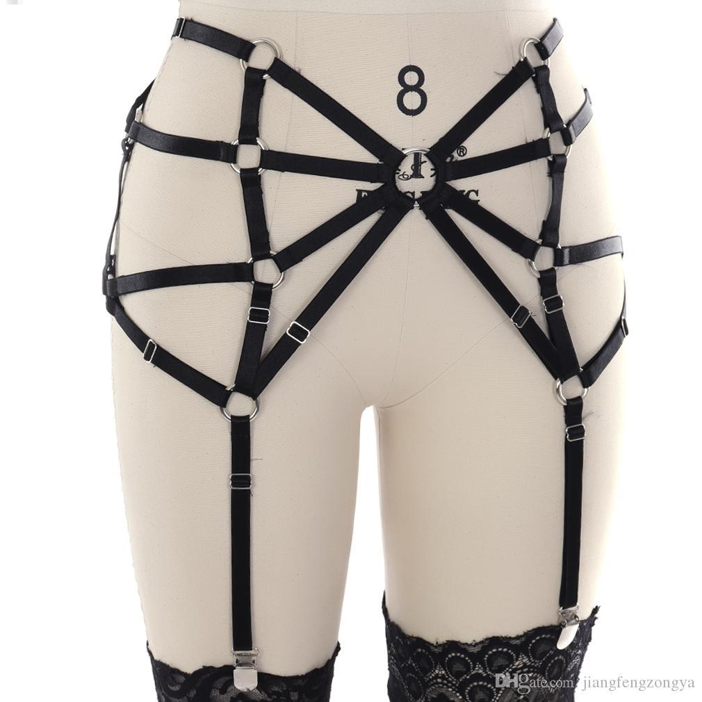 100% El Yapımı Punk Gotik Gerçek Deri Jartiyer Kemer Bel Askıları Uyluk Yüksek Bacak Demeti Askı Şort Kot pantolon için