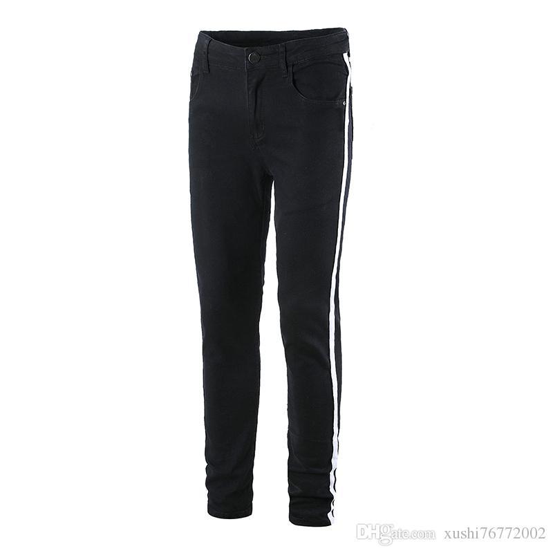 b822d26c3d Compre Pantalones De Cintura Elásticos Casuales Delgados De Los Hombres Del  Resorte Y Del Verano Pantalones Vaqueros Del Estiramiento Negros TAMAÑO  27  42 A ...