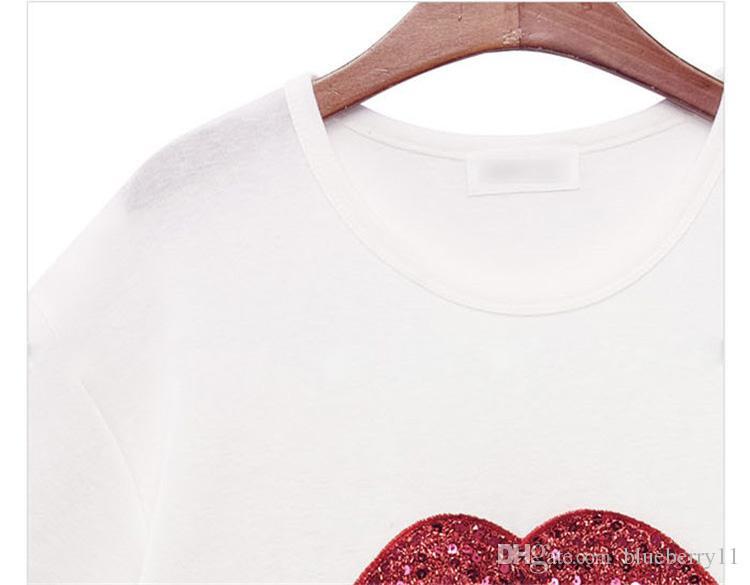 Sommer Marke T Shirt Frauen Tops T-shirt Stickerei Lippen Baumwolle Kurzarm T-shirt Frauen Tops Tees