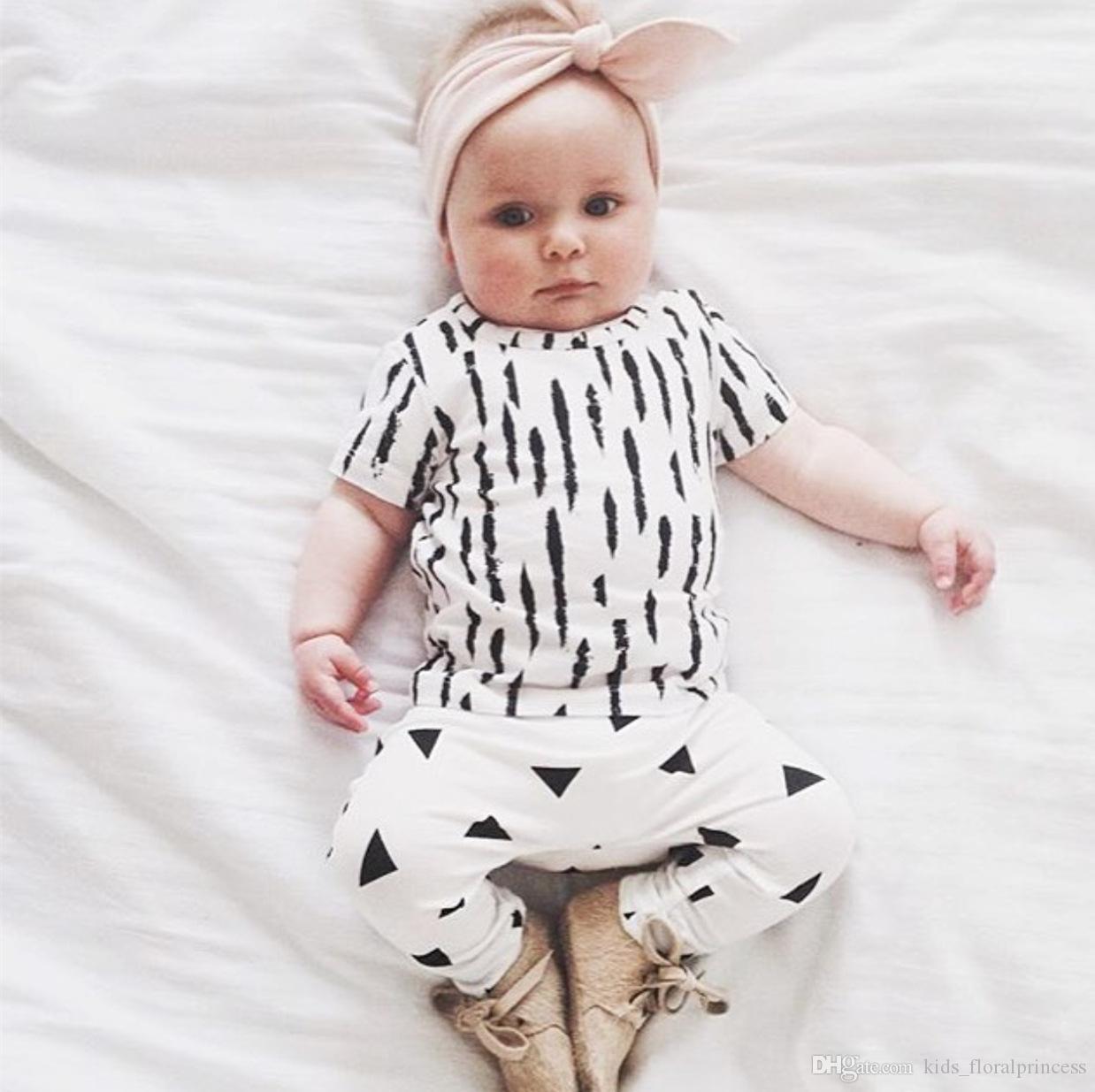2017 Summer Ins Best Selling Baby Boy Set T Shirt Pant White Kids