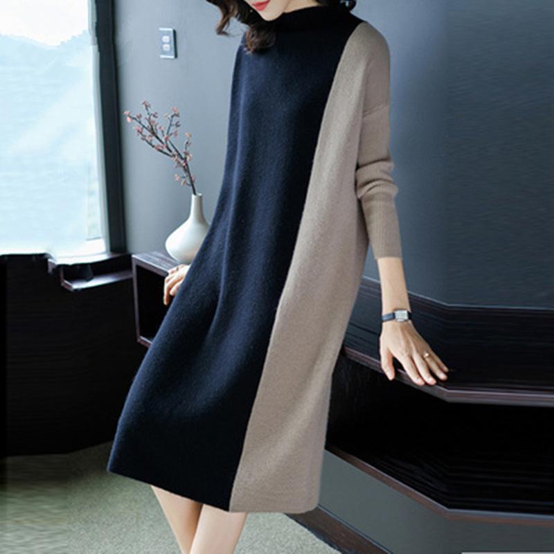 f6f1c2bf80175 Satın Al Kadın Elbise Moda Örme Sonbahar Kadın Patchwork Gevşek Kazak  Elbiseler 2018 Artı Boyutu Kış Rahat Parti Zarif Elbise D1891703, $20.83 |  DHgate.