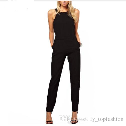 37db375523fe 2019 2018 Summer Rompers Womens Jumpsuit Sexy Ladies Casual Elegant Sleeveless  Long Trousers Overalls Black Jumpsuit Plus Size From Ly topfashion