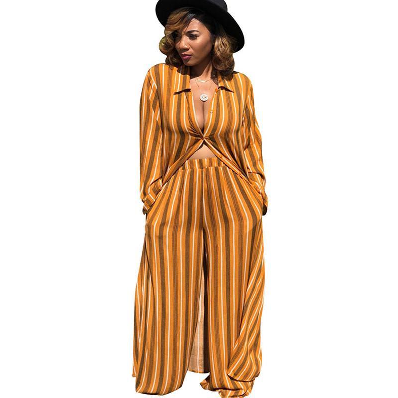 e61dc9e5 Women s Striped Chiffon Two Piece Sets Leisure Trouser Suits Loose X-Long  Shirt Top and Wide Leg Pants Set Autumn Matching Sets