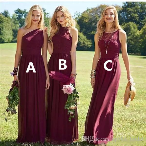 2020 Burgandy Bahçe Gelinlik Modelleri A Hattı Bir Omuz Kat Uzunluk Şifon Gelinlik Törenlerinde Artı Boyutu Düğün Konuk Elbiseler