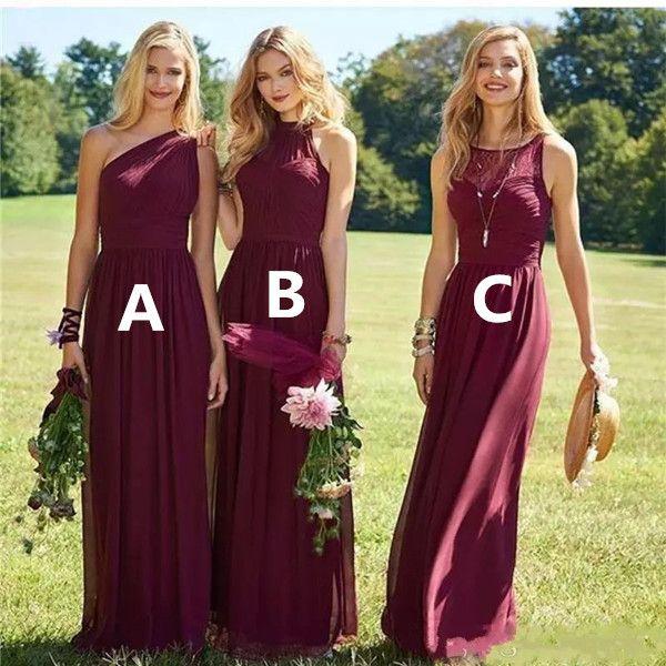 2020 Burgandy Garden Dama De Honor Veste Uma Linha De Um Ombro Comprimento Chiffon Damas De Honor Mais Vestidos De Noiva Tamanho
