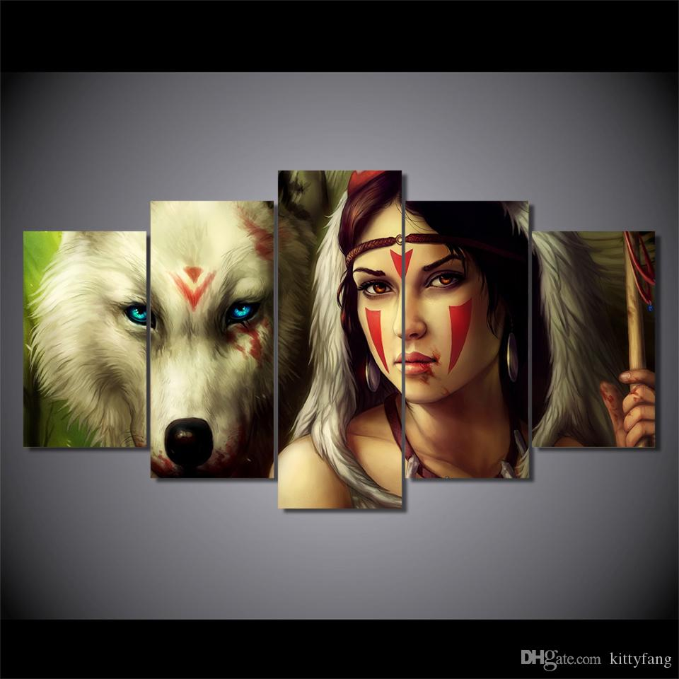 5 Pcs/Set Framed HD Printed wolf color face woman Wall Art Canvas Print Poster Canvas Pictures Abstract Oil Painting