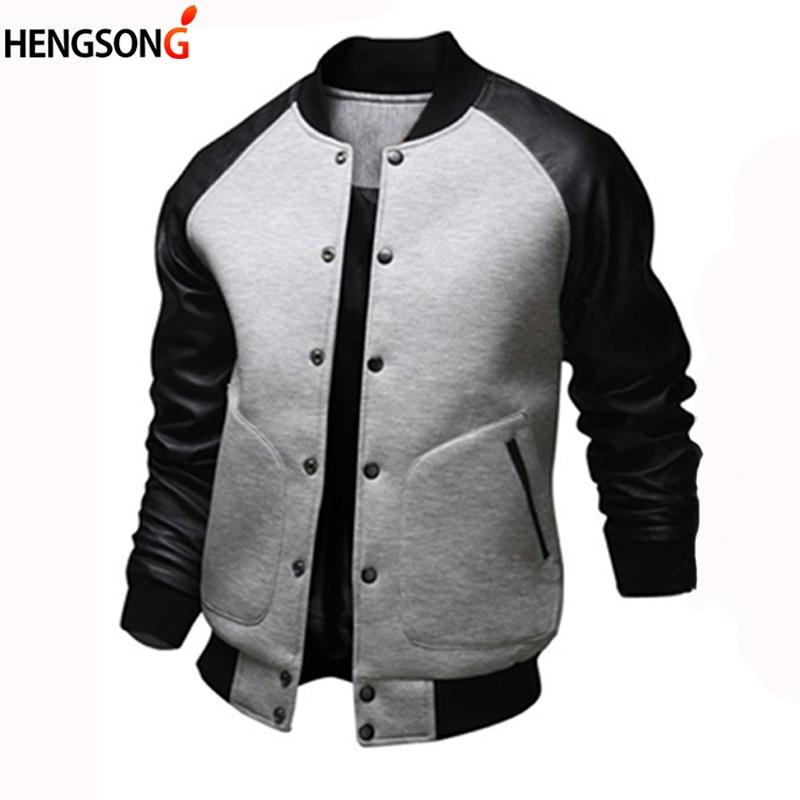 Cool College Baseball Jacket Men 2018 Fashion Design Pu Leather