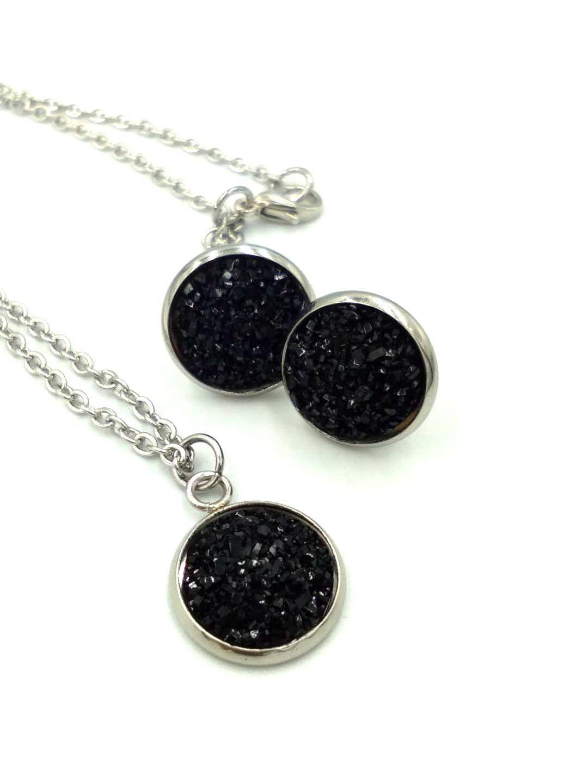 druzy Crystal pendant Necklace Earrings Jewelry Set glitter Pendant Stud Earrings Women's Wedding Dinner Luxury Jewelry