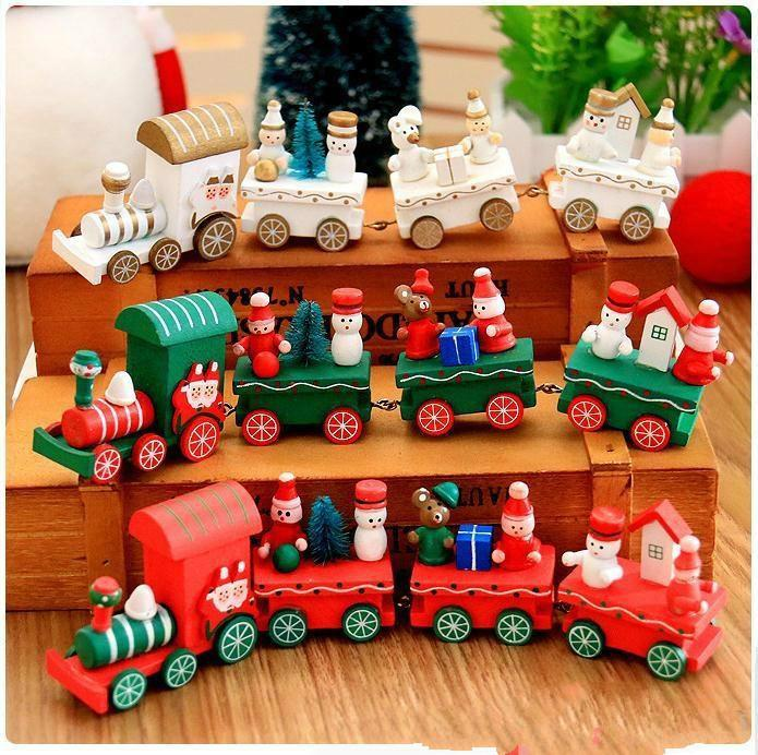 wooden christmas xmas train decoration decor gift mini christmas train wooden train model vehicle toys for chidlren c289 the best christmas decorations the