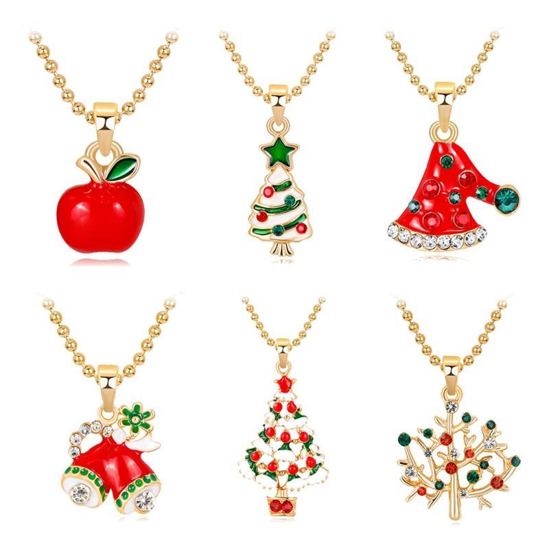 Christmas Necklace Cute Santa Claus Christmas Hat Tree Apple Sock ...
