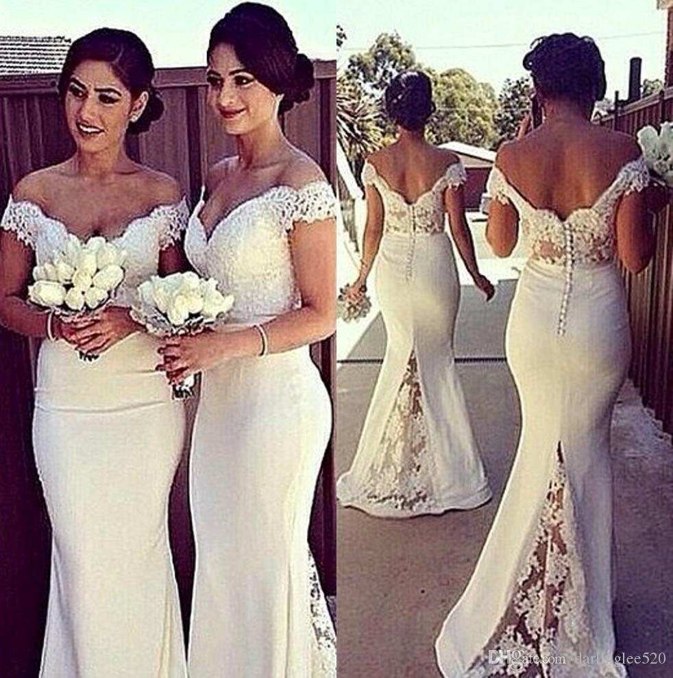 Off Shoulder Lace Satin Bridesmaid Gowns Blue/Peach/Ivory/Champagne/Silver/Coral/Red Mermaid Trumpet Bridesmaid Dresses Fast Shipping