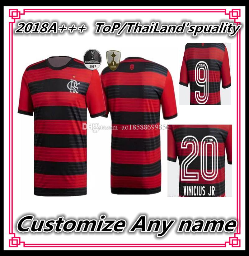 6b7cb88cc12 2018 19 Brasil Flamengo Home Soccer Jersey Red Football Shirt ...