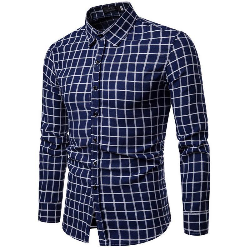 eec1f91cd73b8 Compre 2018 Nuevos Hombres De Pelo Pulido Clásico A Cuadros Camisa De Manga  Larga Camisa De Vestir De Los Hombres De Negocios Camisas Formales Ropa  Para ...