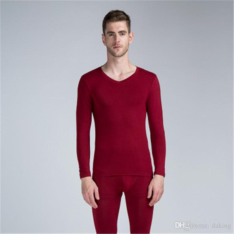 Compre Homens Modal Long Johns Outono Inverno Algodão Fino Bonito Vermelho  Cinza Roupa Interior Térmica Conjuntos De Cintura Alta Boa Elasticidade  Tops E ... 98a78ae7804ef