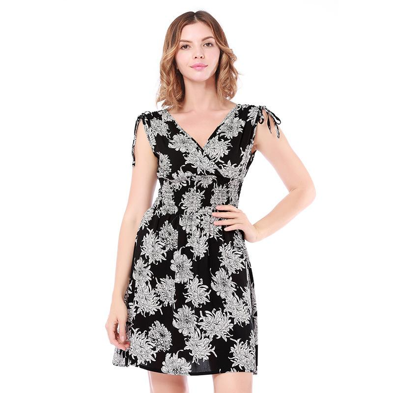 9dc23b3aed 2018 Beach Summer Women Dress Floral Print Mini Sexy V Neck A Line ...