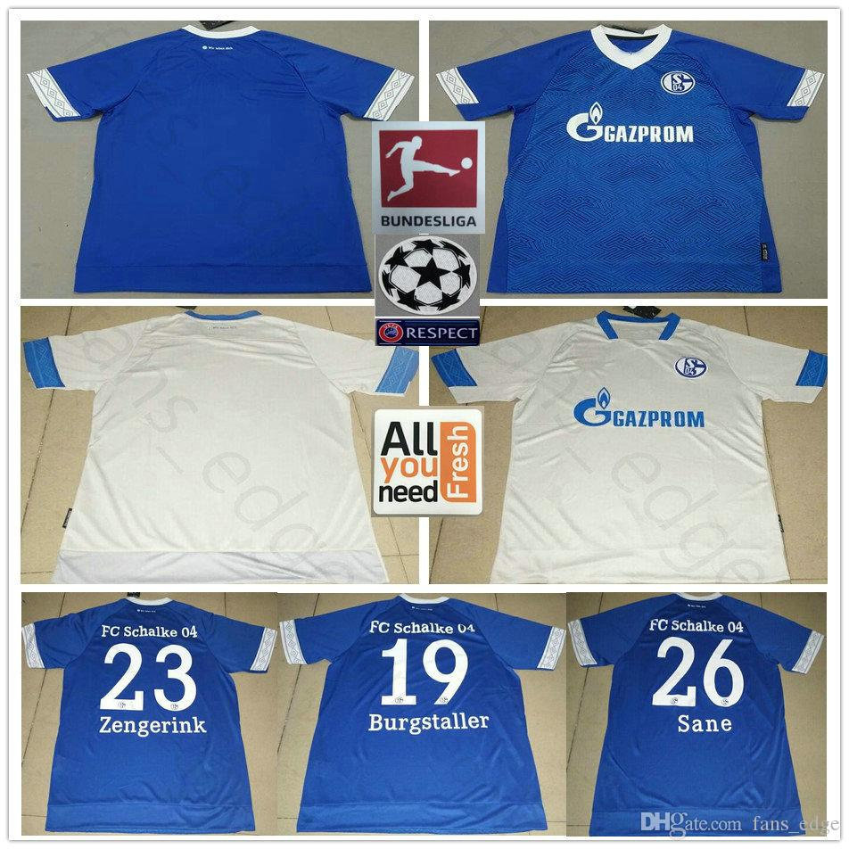 2fc901c0f7 Acheter 2018 2019 FC Schalke 04 Maillot 19 BURGSTALLER 7 UTH 6 Mascarell  HARIT SERDAR SANE Personnalisé Domicile Extérieur 18 19 Maillot De Football  De ...