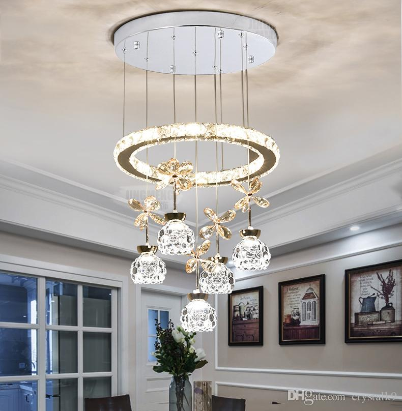 Ceiling Lights & Fans Crystal Ceiling Chandelier Living Room Bedroom Modern Minimalist Art Lamp Creative Crystal Chandelier With Lampshade High Quality