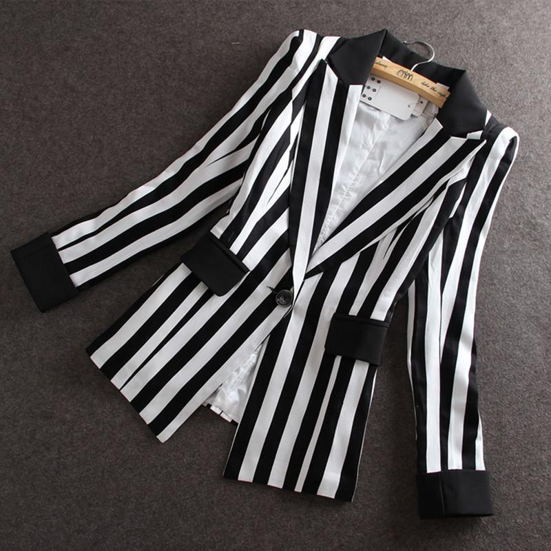 d7ab80cc272 2018 High Quality 2017 Autumn New New Korean Slim Small Suit Jacket Women  Black And White Striped Blazer Feminino Y1891701 From Zhengrui01