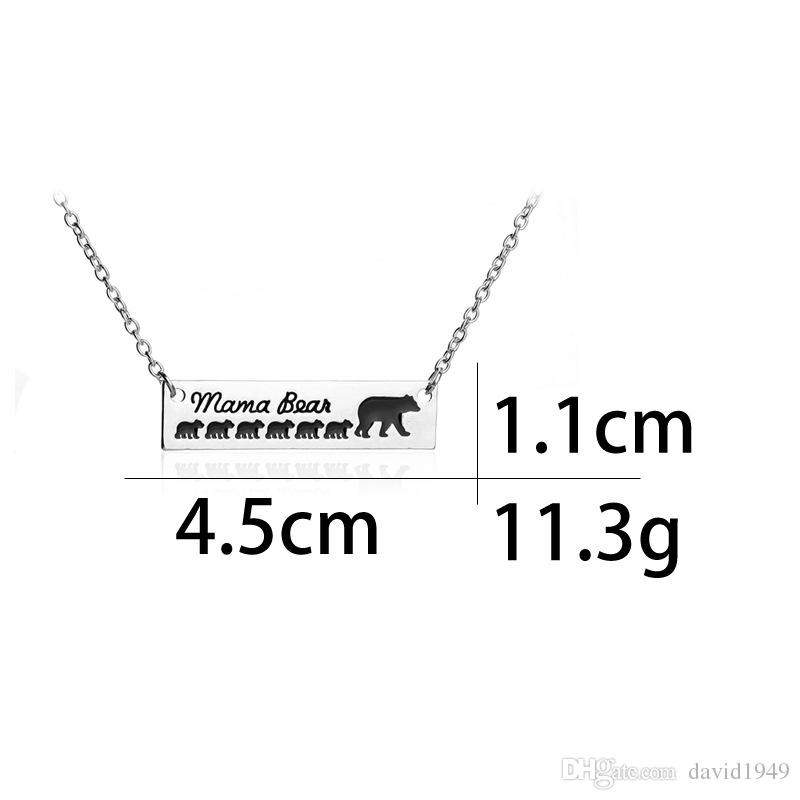 Mama Bear Alloy Pendant Necklaces Silver Plated Animal Mama and 6 Cubs Necklace Mothers Day Jewelry Gifts