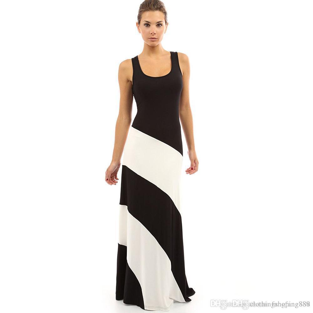 f794ff52f2 Acheter Chaude Élégant Rayé Robe Noir Blanc Épissage Sexy Robes De Soirée  Autour Du Cou Sans Manches Été Robe Maxi Robe De Festa De $22.51 Du  Fangfang889 ...