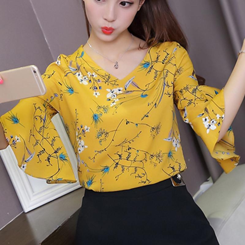 6cda6f5e9c8 2018 Blouse Shirt Women s Blouses Fashion Chiffon Summer Clothes Flowers  Stylish Big Sizes Korean Fashion Clothing Top Femal B16