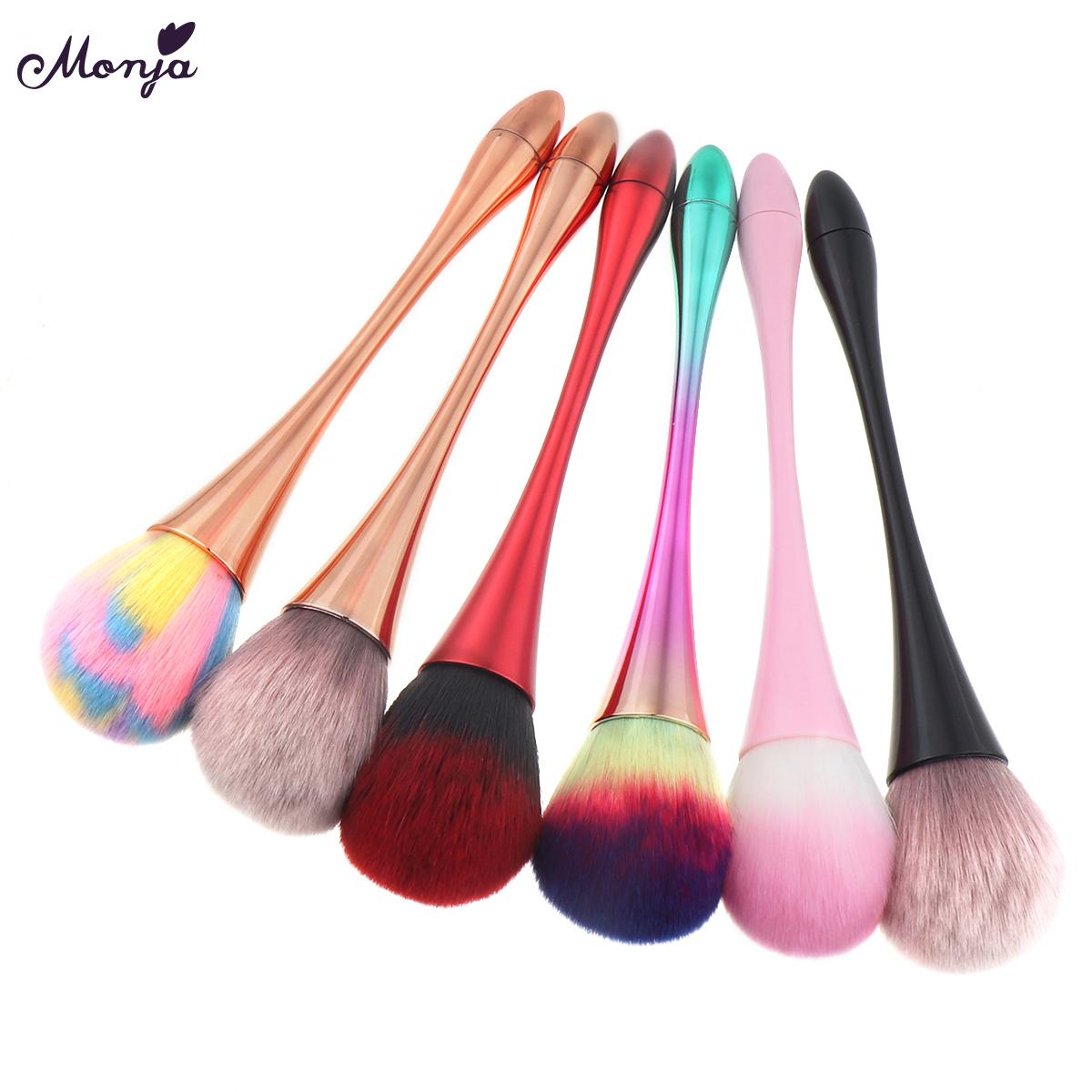 Nail Brushes Monja Aluminum Handle Nail Soft Dust Cleaner Cleaning Brush Acrylic UV Gel Powder Removal Manicure Tools