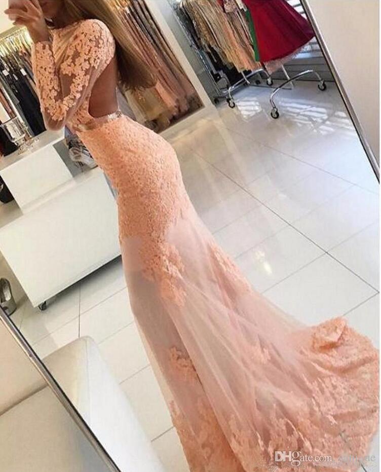 Col rond manches longues robes de bal 2018 dos nu train train de balayage appliques perlée formelle soirée robes de soirée robe de mariée robes de bal